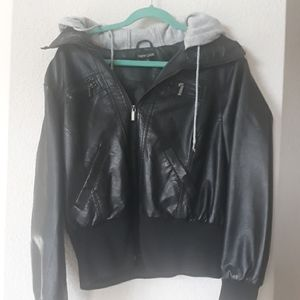 Faux leather jacket with grey hood 2X